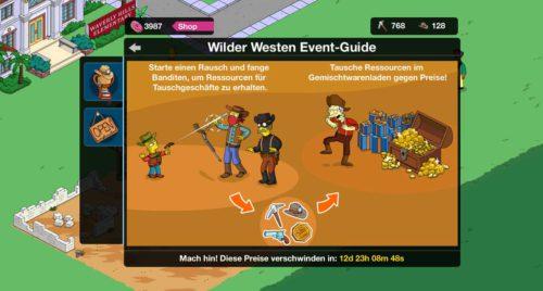 Der Event Guide von Simpsons Springfield zum neuen Wilder Westen Event
