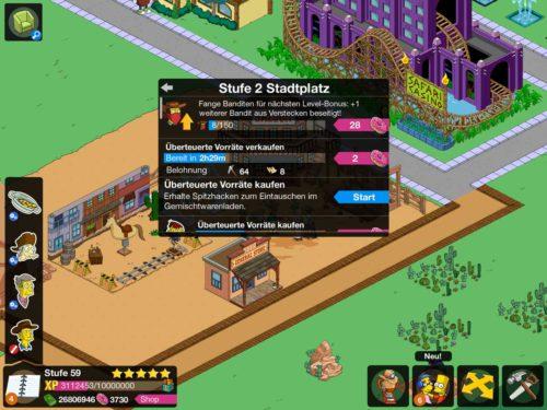 Beim Simpsons Springfield Wilder Westen Event musst du einen Rausch ausführen, um an bestimmte Ressourcen zu gelangen