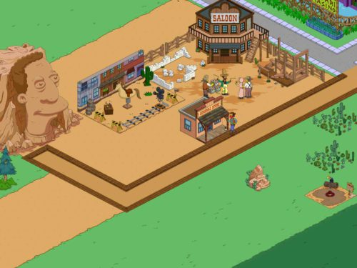 Baue im Wild Western Update von Simpsons Springfield deine Wüstenstadt aus