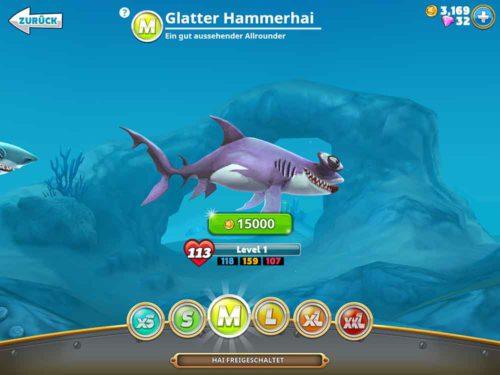 Im Anschluss musst du den Hai gegen Gold (Münzen) kaufen