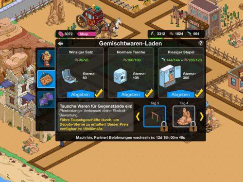 Simpsons Springfield: Im Gemischtwaren Laden tauscht ihr nun auch Waffen bzw. Pistolen in Deputy-Sterne um