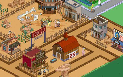 Beim Event Simpsons Springfield Wilder Westen Akt 2 baut ihr eure Stadt mit weiteren Dekorationen und Gebäuden aus