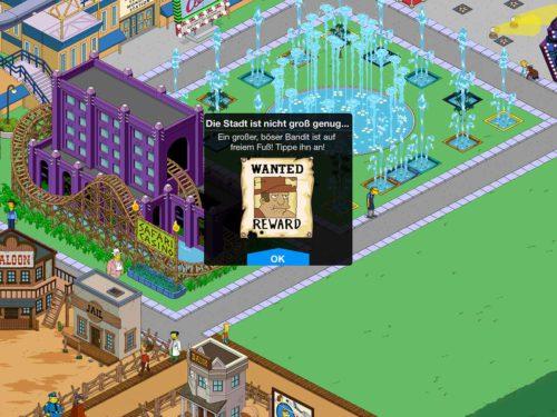 In Akt 2 des Simpsons Springfield Event Wilder Westen gibt es nun einen großen, bösen Banditen, den ihr mehrmals antippen müsst