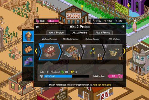 Simpsons Springfield Wilder Westen Akt 2: Die Preise in der Übersicht