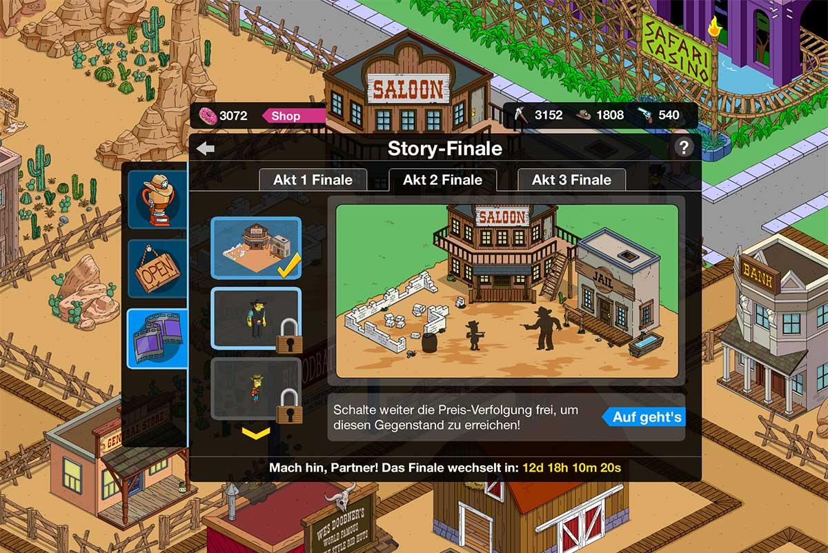 Simpsons Springfield Wilder Westen Akt 2 Preise Tipps Storyline