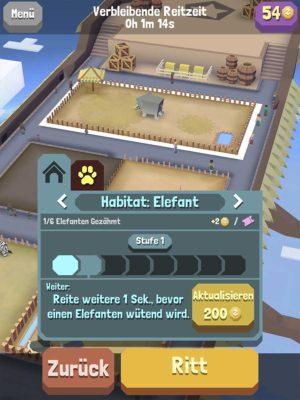 """Du kannst dein Starttier im Zoo auswählen, indem du auf das Habitat tippst und dort """"Ritt"""" auswählst"""