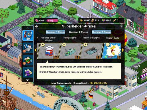 Übersicht über die Superhelden 2 Akt 2 Preise in Simpsons Springfield