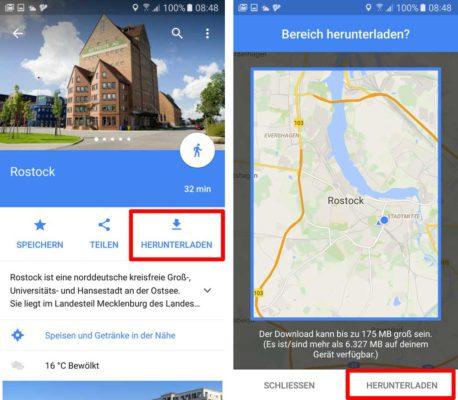 Lade das Kartenmaterial herunter, damit es offline aus Google Maps heraus genutzt werden kann