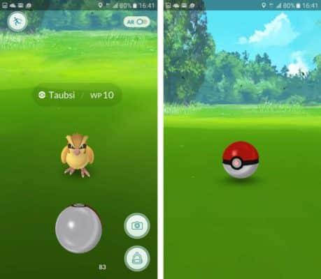 Wirf einen Pokeball und versuche den Pokemon zu treffen, um ihn einzusammeln