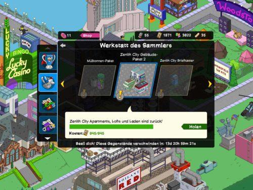 Wir empfehlen in der Werkstatt des Sammlers beim Simpsons Springfield Superhelden 2 Akt 3 die Gebäude auszuwählen