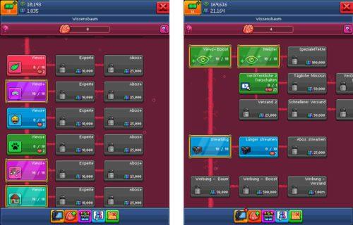 Im Wissensbaum von PewDiePie Tuber Simulator zunächst die Views der Kategorien eröhen, danach die Views allgemein und das zweite Video freischalten