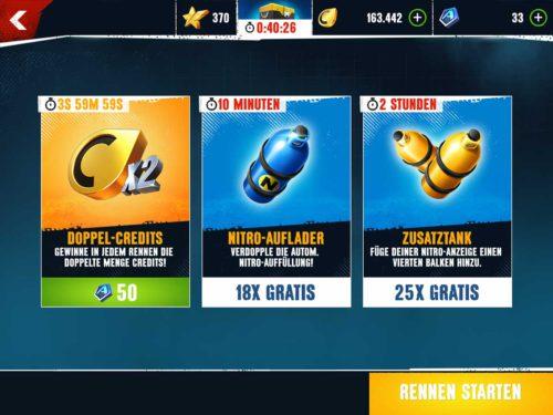 Booster bekommt ihr durch regelmäßiges Spielen und als Belohnungen auch ohne den Einsatz von Marken