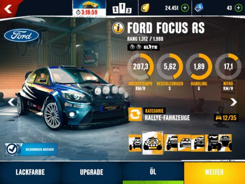 In our opinion, the rally cars in Asphalt Xtreme, such as the Ford Focus RS, are best suited for the multiplayer mode