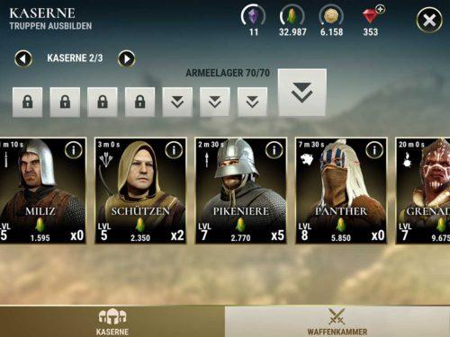 In der Kaserne kannst du deine Dawn of Titans Truppen ausbilden, wofür Nahrung benötigt wird