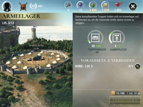 Indem du das Armeelager verbessert, kannst du mehr Truppen mit in den Kampf nehmen