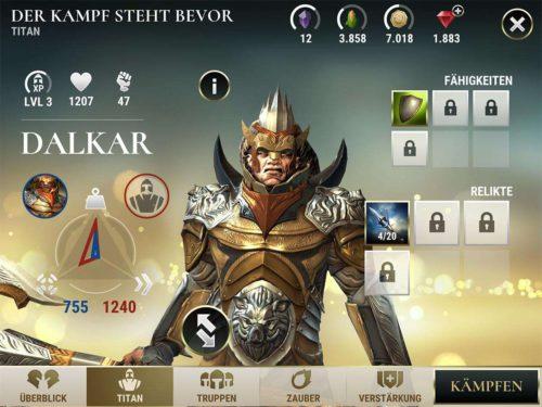 Neben deinen Truppen steht dir auch ein Titan im Kampf zur Verfügung. Achte genau auf seine Parameter und setzte Fähigkeiten und Relikte ein, um diesen zu stärken