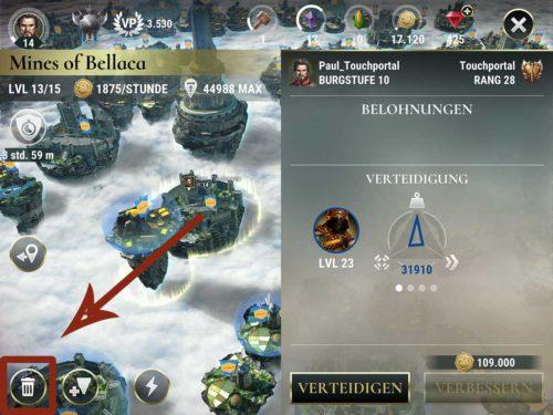 Du kannst Länder in Dawn of Titans löschen, indem du unten links auf das Papierkorb Icon tippst