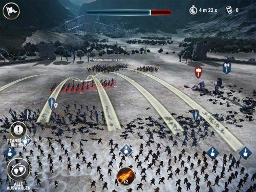 Jeder Truppe, Truppentyp oder allen Truppen kannst du Befehle geben, wer angegriffen werden soll. Nutze auch deine Verstärkung und Zauber, falls es eng wird