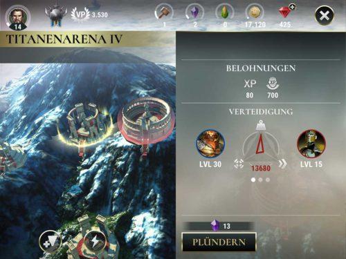 Die Titanenarena befindet sich rechts von den unbesetzten Ländern in Dawn of Titans