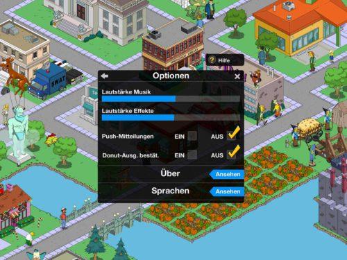 Simpsons Springfield: Setze die Push Mitteilungen auf Aus