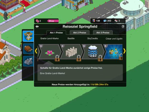 Preise bei Akt 1 des Simpsons Springfield Events Reiseziel Springfield
