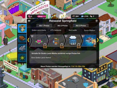 Preise bei Akt 2 des Simpsons Springfield Events Reiseziel Springfield