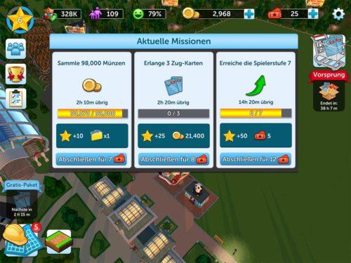 Erfülle aktuelle Missionen bei RollerCoaster Tycoon Touch, um Belohnungen zu erhalten