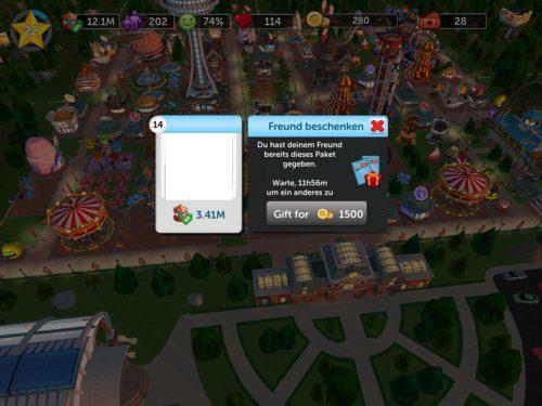 Alle 24 Stunden kannst du in RollerCoaster Tycoon Touch einen Freund beschenken