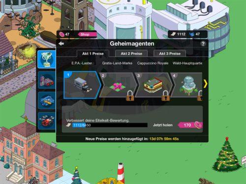 Übersicht über die Preise beim Simpsons Springfield Geheimagenten Event für Akt 1