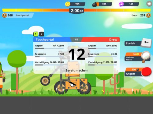 Schaue vor dem Kampf in Super Tank Rumble auf die Werte deines Gegners. Ist dieser zu stark, suche nach einem anderen