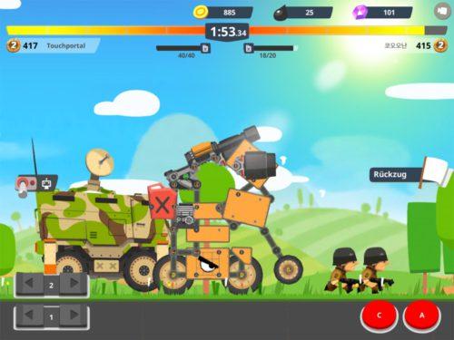 Fährst du in Super Tank Rumble hinter das eigene Fahrzeug, wird dieses erst zerstört - Nachteil: Du kannst keine Soldaten mehr lossenden, wenn es zerstört ist