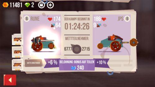Du kannst auf den Sieger bei dem Duell zweier Gegner wetten. Liegst du richtig, erhält das Teil, welches du ausgewählt hast, einen Bonus
