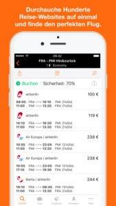 Kayak Schnell und einfach Preise vergleichen - Screenshot (c) Kayak