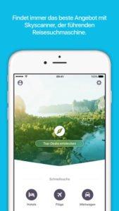 Die Skyscanner App hat neben Flug auch Hotels und Mietwagen im Preisvergleich - Screenshot (c) Skyscanner
