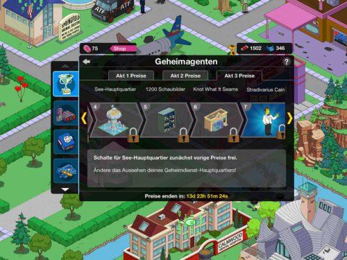 Simpsons Springfield Geheimagenten Akt 3 Preise