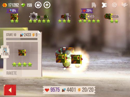 Raketen als Fernkampfwaffe sind in der Regel besser als Laser - Verbessere diese stetig, um mehr Schaden zu generieren - Screenshot aus Siegesserien katapultieren dich in der Liga schnell nach oben in CATS Crash Arena Turbo Stars