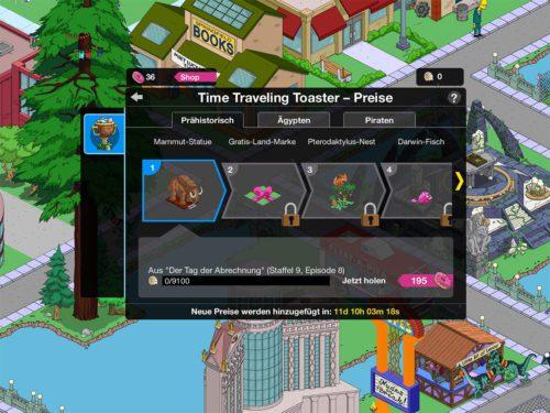 Preise in Akt 1 Prähistorisch beim Simpsons Springfield Zeitreise Event