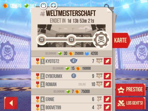 Hast du in der Meisterschaft von CATS Crash Arena Turbo Stars die letzte Stufe erreicht, kannst du unten rechts auf Prestige tippen