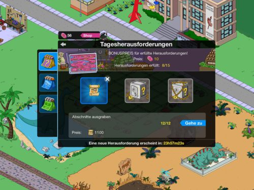 Bei den Tagesaufgaben gibt es die Möglichkeit Papyri für Akt 2 des Simpsons Springfield Events Zeitreise zu sammeln
