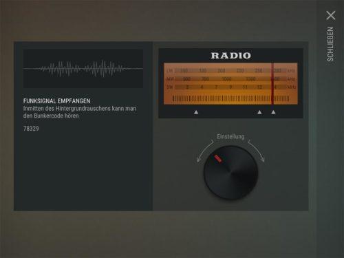 Drehe beim Radio dann einfach zur entsprechenden Frequenz und du siehst den Code zum Eingeben beim Bunker Alfa
