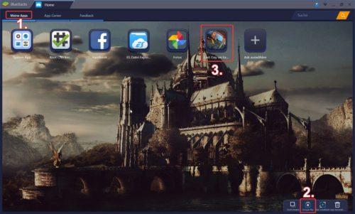"""Klicke oben auf den Punkt """"Meine Apps"""" in Bluestacks und als zweites auf """"Google Play"""" unten rechts"""