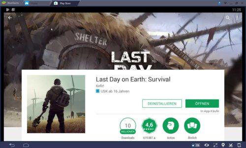 Suche über den Google Play Store nach Last Day On Earth und installiere die App