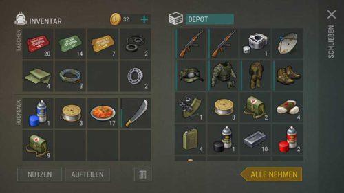 Im Überlebenspaket-Terminal für gelbe Coupons gibt es schon deutlich mehr Fernkampfwaffen und bessere Ausrüstung