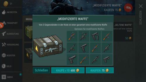 Im Last Day On Earth Shop kannst du neue Items für Münzen kaufen, unter anderem modifizierte Waffen