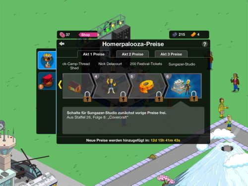 Preise in Akt 1 des Homerpalooza Event in Simpsons Springfield