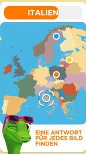 Auf der Karte musst du den gesuchten Ort möglichst genau treffen - 94 Degrees Adventures Screenshot (c) Scimob