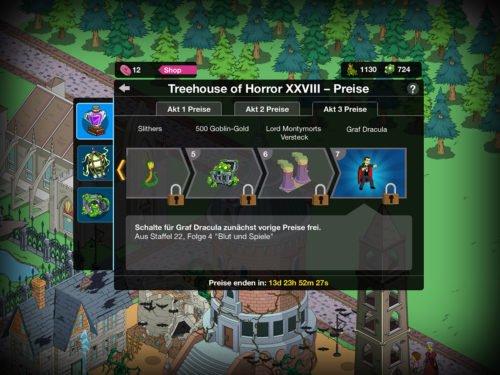 Diese Preise kannst du in Akt 3 von Simpsons Springfield beim Treehouse of Horror 2017 Event freischalten
