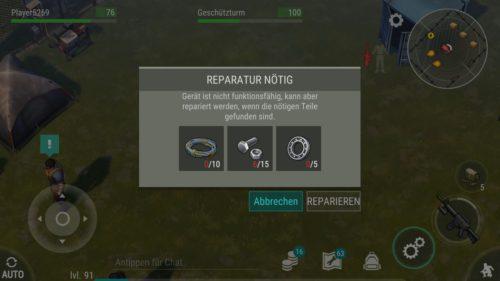 Beim Schmuggler Lager kannst du den Geschützturm reparieren