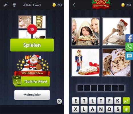 Alle Lösungen im Dezember 2017 für 4 Bilder 1 Wort zu den Tagesrätsel rund um Weihnachten
