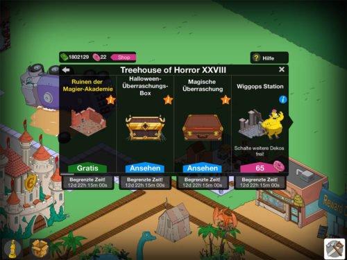 Wenn der Auftrag erscheint, baue kostenlos die Ruinen der Magie-Akademie in Die Simpsons Springfield